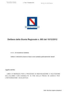 Delibera G. R. n. 685 del 10/12/2012